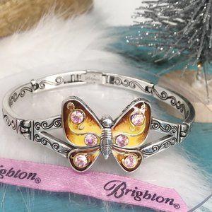 Papillon Pink Crystal Enamel Butterfly Silver Plat